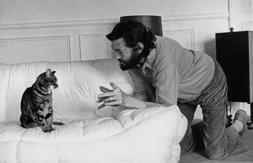 Julio Cortazar mit seiner Katze Fanart.